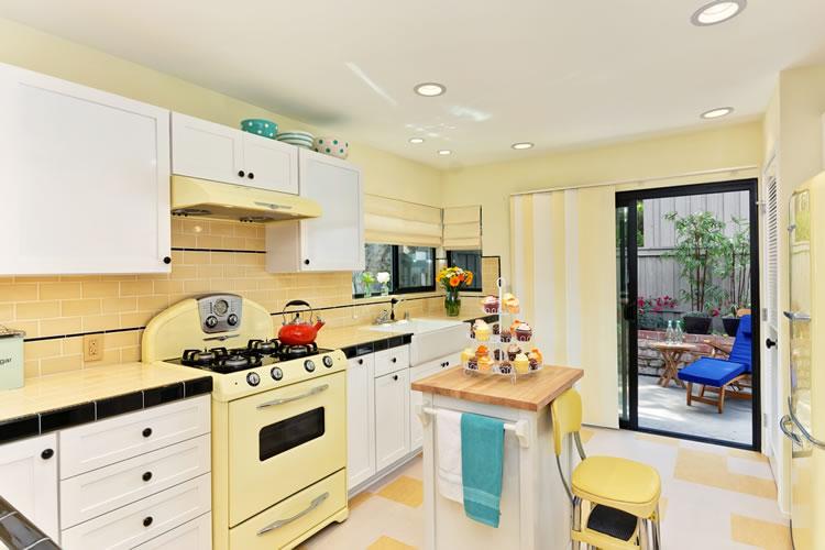 Pale Yellow Kitchen White Appliances