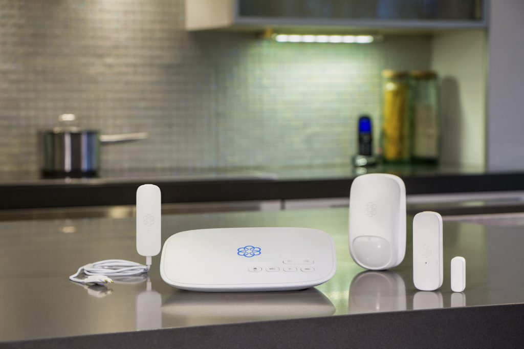 Ooma's DIY home security system is easy to install and permits remote 911 calling capability.