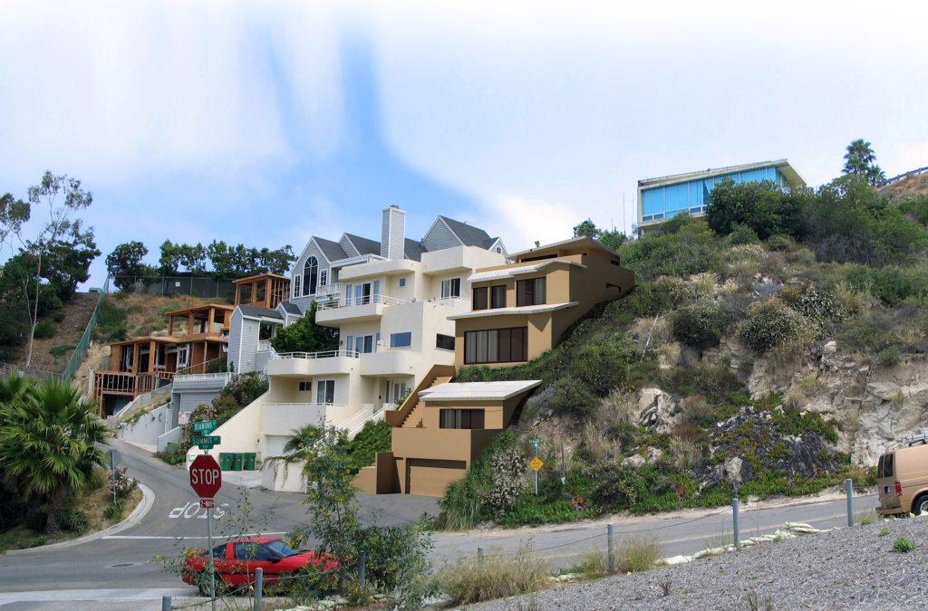 A rendering for a proposed home built on steep Summit Way in Laguna Beach illustrates how the structure could be stepped into the hillside to lessen its massiveness and accommodate the neighbor's views.